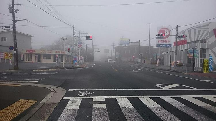 亀岡は深い霧に包まれていました。 霧の出る日は好天がきまりとの由、帰路は好天となりました。