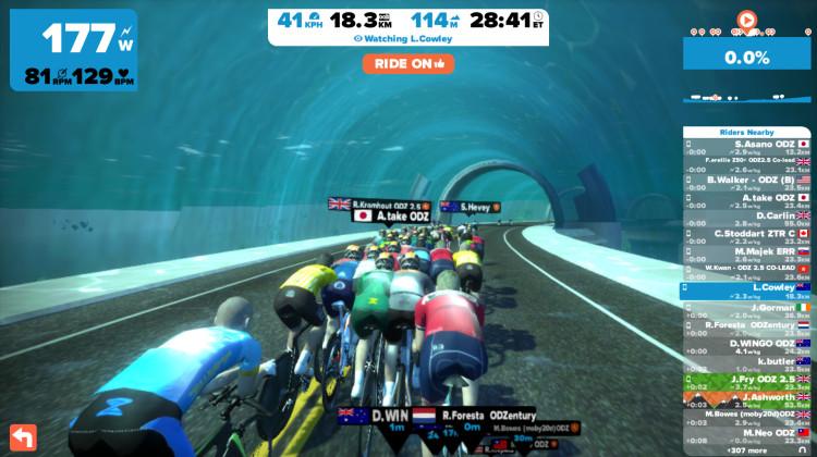 集団で走ることも。後ろにつくと負荷も軽くなるとか。。 コースもいろいろあって、ここは海の中のトンネルです。