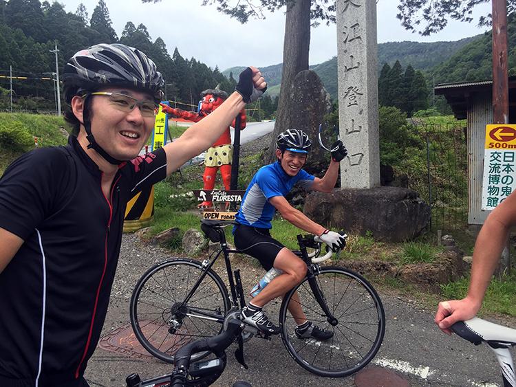 前日の自走で大江山を登るメンバー、明日も登るのに好きですね♫