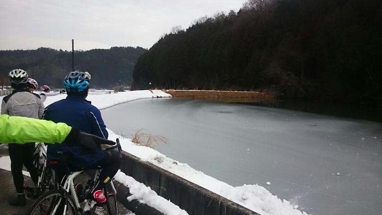池に雪を投げて遊びます